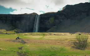 Cliff With a Waterfall in Iceland