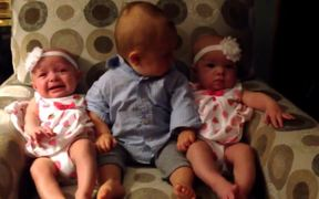 Confused Toddler Meets Twins