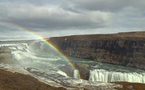 Rainbow Over Gullfoss Waterfall