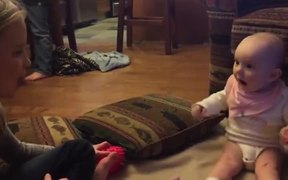 Adorable Baby Girl Is Blown Away By Bubble Gum