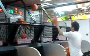 Man Too Good At Basketball Game Machine