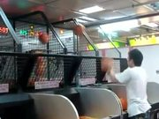 Man Too Good At Basketball Game Machine