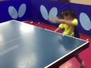 Little Girl Playing Table Tennis Like A Pro
