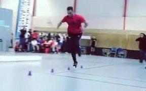 Guy Lightning Fast On Roller Blades