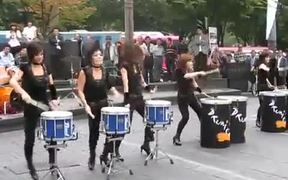 Wild Drum Performance By Ladies On The Street