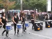 Wild Drum Performance By Ladies On The Street