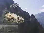 Truck Being Carried Over By Rescue Team