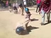 The Sack Racing With Helmets