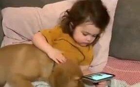 Baby Babysitting A Baby Golden Retriever