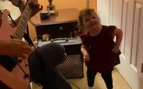 Kid Excited About Her Favorite Song
