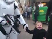 Cute Kid Smiles When She Meets The Jedi