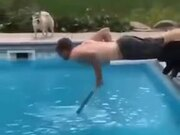 Dog And Guy Jumping Into The Pool!