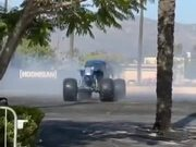 Monster Truck Doing Sick Power Slides And Burnouts