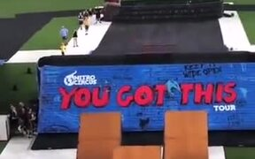 Guy On A Sofa Does A Massive Jump On A Ramp!