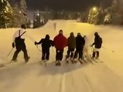 Group Ski Around In Amazing Sync!