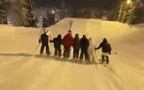 Group Ski Around In Amazing Sync!