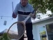 Grandpa Can Still Play Nice With The Racket!
