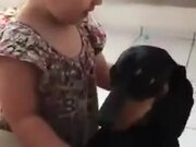 Little Girl Expressing Love To Pet Dog
