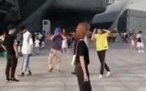 Public Moonwalk By A Group