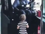 Bus Driver Entertaining Little Girl