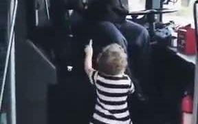 Bus Driver Entertaining Little Girl