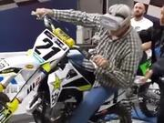 Grandpa Motorbiking Using VR