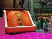 A Girl Diving Inside Balls
