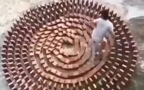 Brick Dominos Destroyed By A Naughty Kid