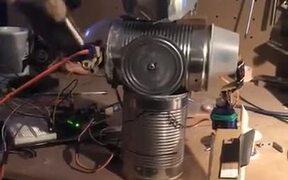 A Homemade Tin Can Robot