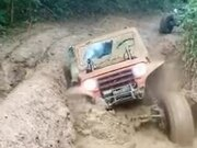 Jeep Trapped In The Mud Getting Free