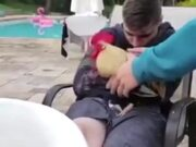 Sleeping Guy Pranked With A Rooster On The Lap