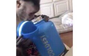 When A Monkey Receives A New Water Bottle