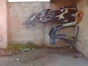 3D Graffiti Art Of A Giant Frog