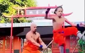 Father And Son Performing 'Monkey On The Pole'
