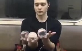 Next Level Juggling In A Train