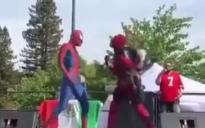 Spider-Man And Deadpool Killing It On Stage