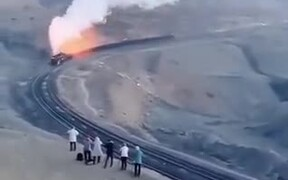 Train Blowing Fire And Steam