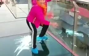 Woman Too Scared On A Glass Bridge