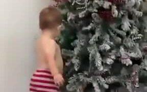 Kid Around A Christmas Tree