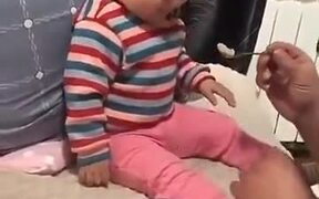 Baby Boy Plays With His Father
