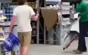 Guy Does The Bucket On The Head Prank