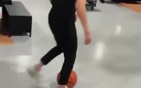 Very Impressive Basketball Dunk In Sporting Shop