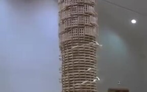 Huge Jenga Structure Gets Domino's
