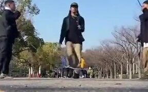 Japanese Man Dances Fast Over Skipping Rope