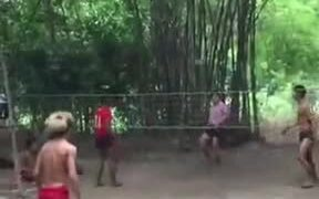 Awesome Game Of Kick Volleyball