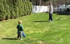 Young Toddler Scores A Perfect Baseball Shot