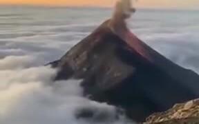 Beautiful View Of Fuego Volcano Erupting