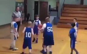 Kid Helps A Brother With Scoring Basketball Goal