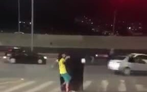 Astonishing Football Show At A Stop Light