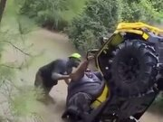 Overweight Dude On A Quadbike Almost Flips Over